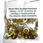 "Sq Wire Anodized Alum Rings Gold 18ga 3/16"" 100pcs"