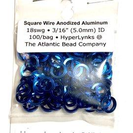 "Sq Wire Anodized Alum Rings Royal Blue 18ga 3/16"" 100pcs"