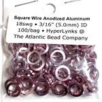"""Sq Wire Anodized Alum Rings Pink 18ga 3/16"""" 100pcs"""