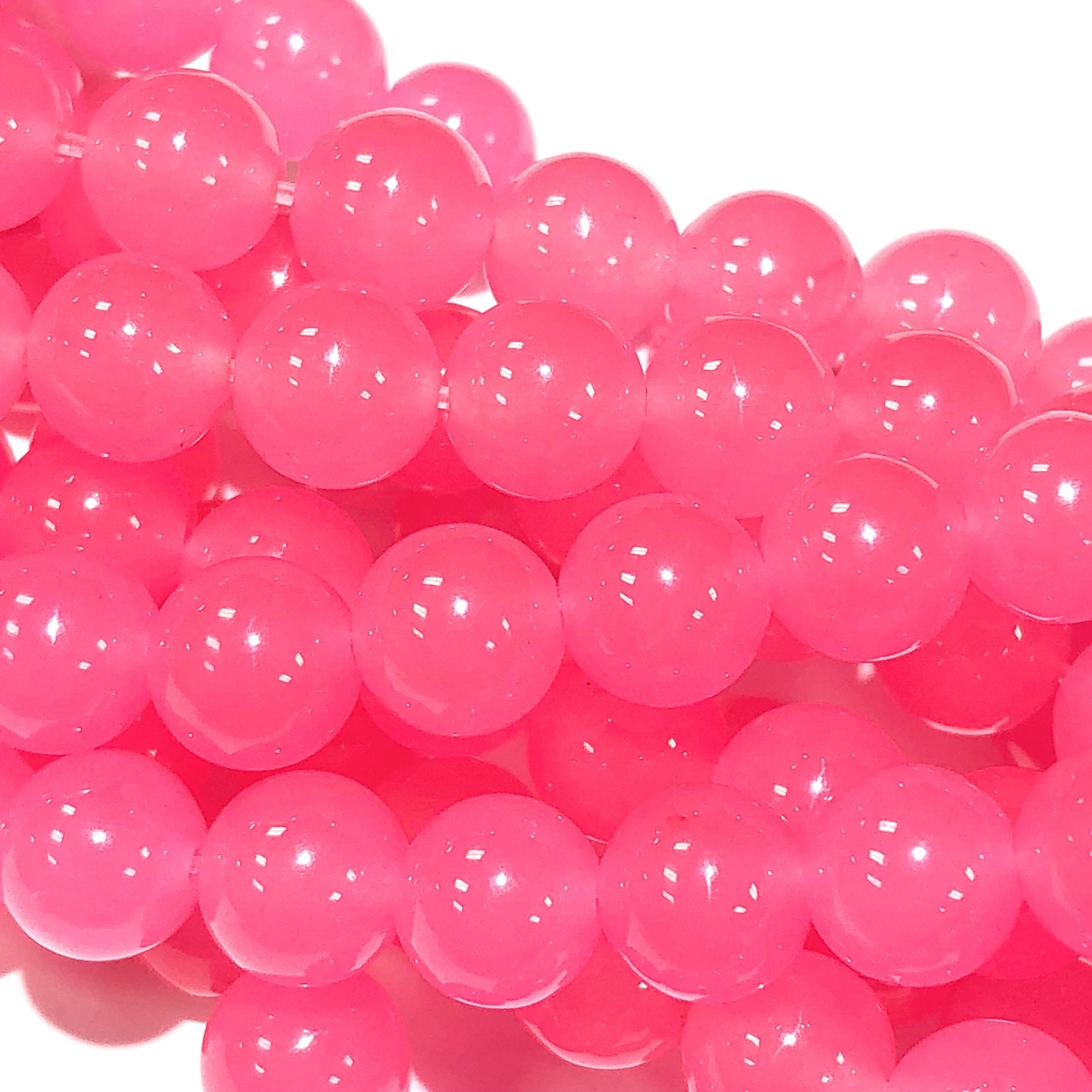 Common JADE Dyed Bubblegum Pink 8mm Round