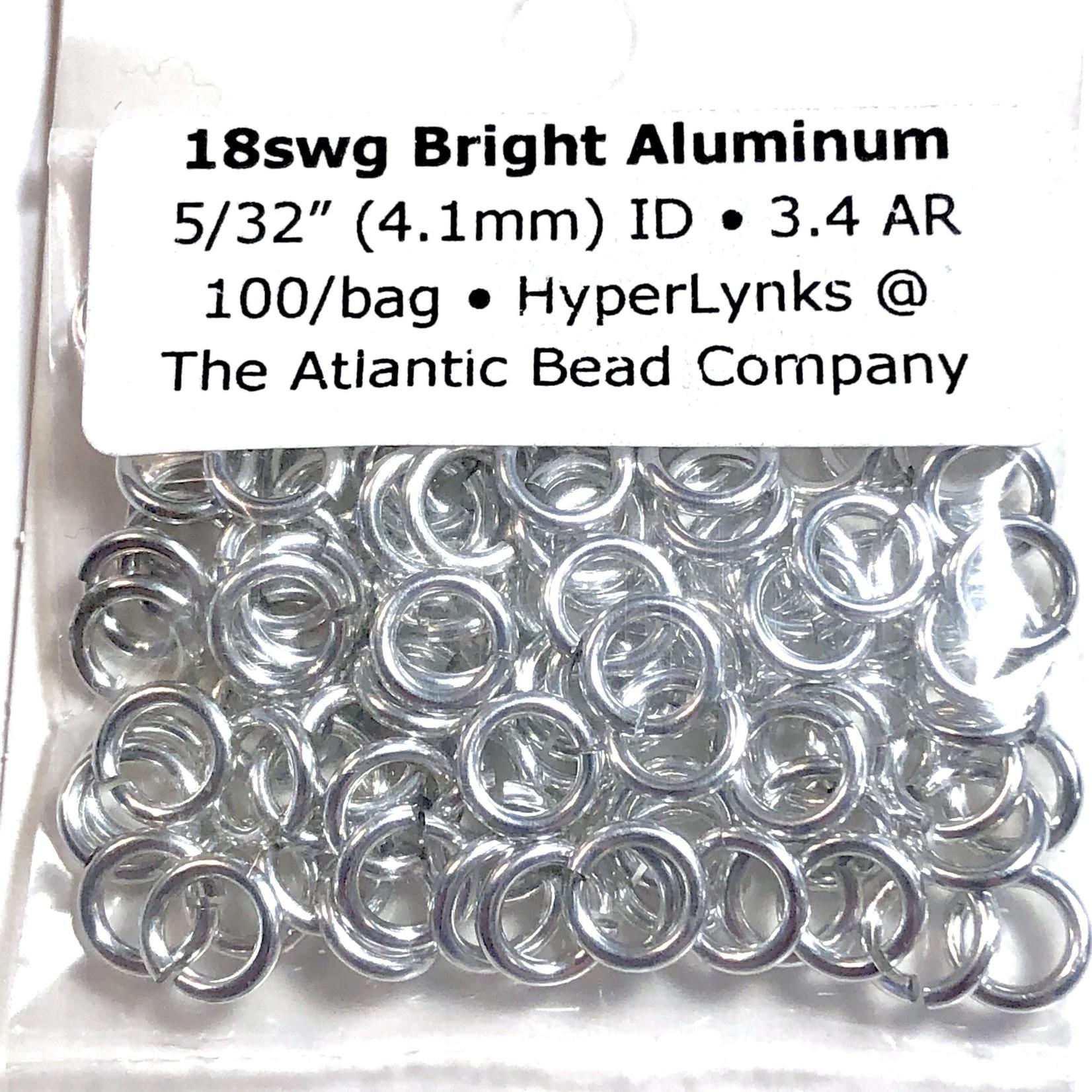 """Bright Aluminum Rings 18ga 5/32"""" 100pcs"""