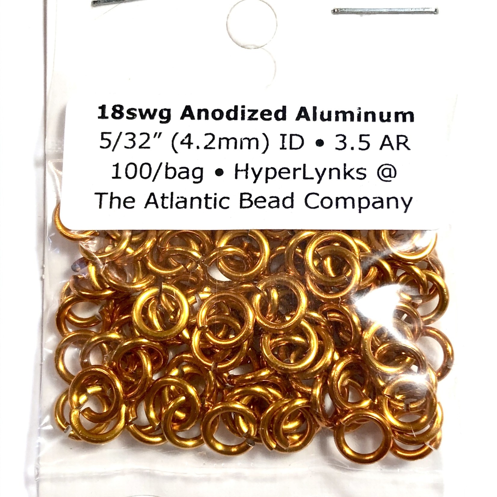 "Anodized Aluminum Rings 18ga 5/32"" Orange 100pcs"