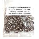 "Anodized Aluminum Rings 18ga 5/32"" Champagne 100pcs"