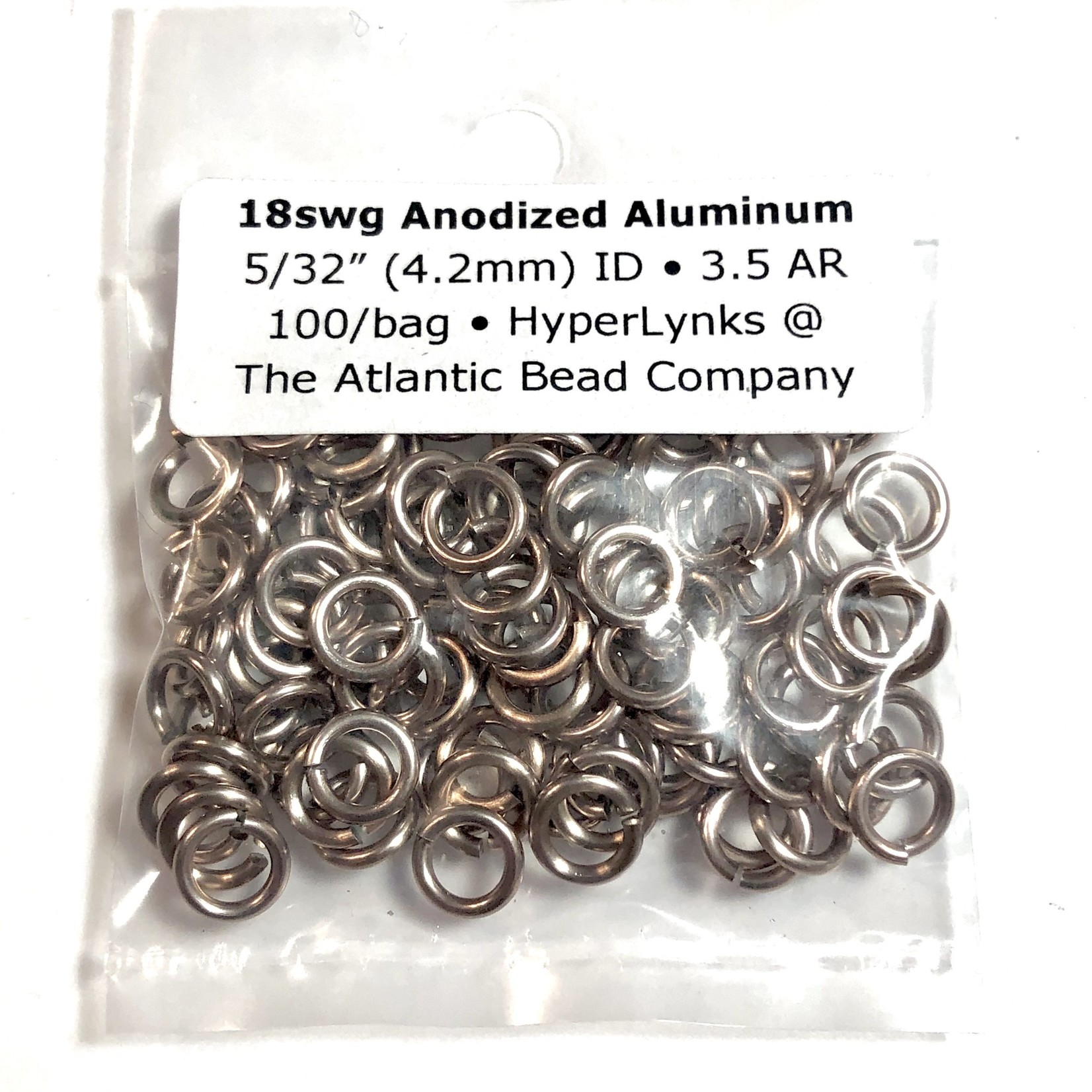 "Hyperlinks Anodized Aluminum Rings 18ga 5/32"" Champagne 100pcs"