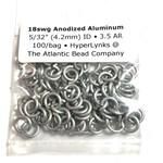 """Hyperlinks Anodized Aluminum Rings 18ga 5/32"""" White 100pcs"""