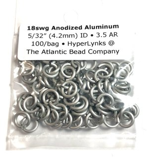 """Anodized Aluminum Rings 18ga 5/32"""" White 100pcs"""