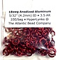 """Anodized Aluminum Rings 18ga 5/32"""" Red 100pcs"""
