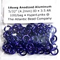 "Anodized Aluminum Rings 18ga 5/32"" Violet 100pcs"