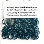 """Anodized Aluminum Rings 18ga 5/32"""" Teal 100pcs"""