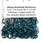 "Hyperlinks Anodized Aluminum Rings 18ga 5/32"" Teal 100pcs"