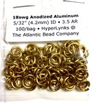 "Hyperlinks Anodized Aluminum Rings 18ga 5/32"" Gold 100pcs"