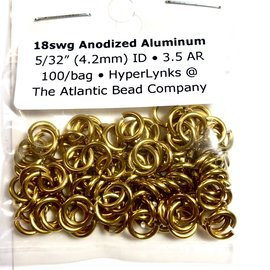 "Anodized Aluminum Rings 18ga 5/32"" Gold 100pcs"