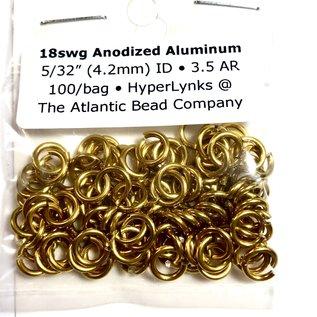 """Anodized Aluminum Rings 18ga 5/32"""" Gold 100pcs"""