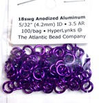 "Hyperlinks Anodized Aluminum Rings 18ga 5/32"" Purple 100pcs"