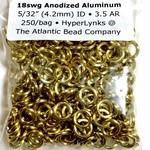 """Anodized Aluminum Rings 18ga 5/32"""" Rings Gold 250pcs"""