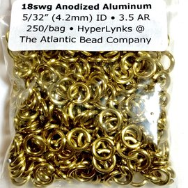 "Anodized Aluminum Rings 18ga 5/32"" Rings Gold 250pcs"