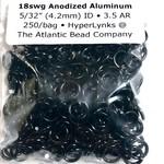 "Hyperlinks Anodized Aluminum Rings 18ga 5/32"" Rings Black 250pcs"