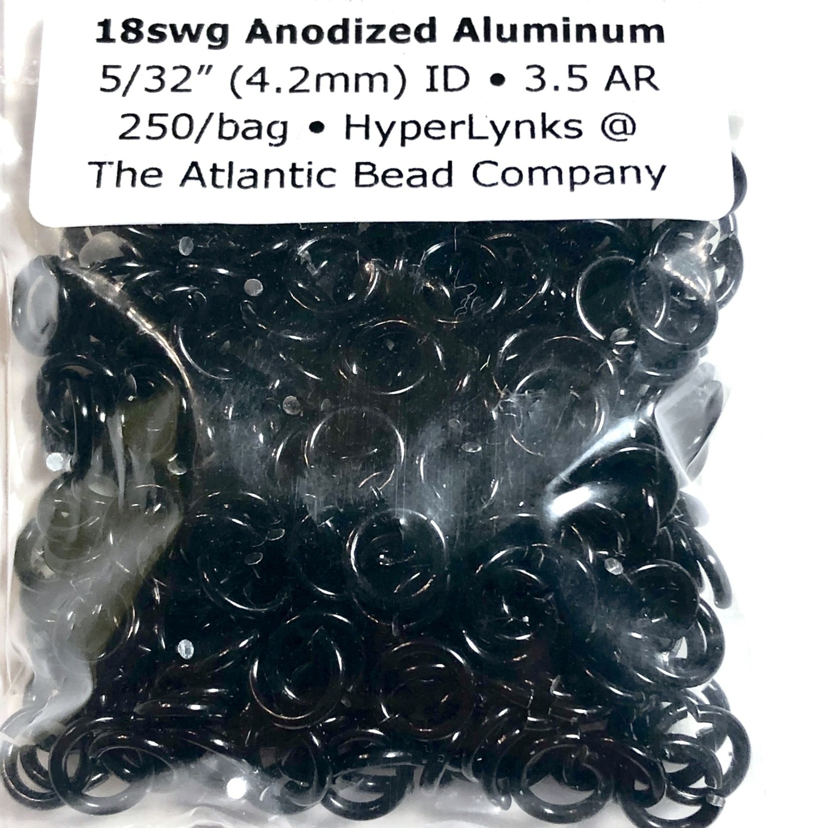 "Hyperlinks Anodized Aluminum Rings 18ga 5/32"" Rings Black 250pcs"