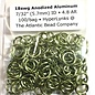 "Anodized Aluminum Rings 18ga 7/32"" Lime 100pcs"
