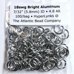 "Hyperlinks Bright Aluminum Rings 18ga 7/32"" 100pcs"