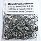 """Bright Aluminum Rings 18ga 7/32"""" 100pcs"""
