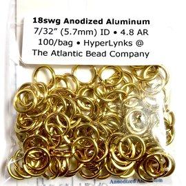 """Anodized Aluminum Rings 18ga 7/32"""" Gold 100pcs"""