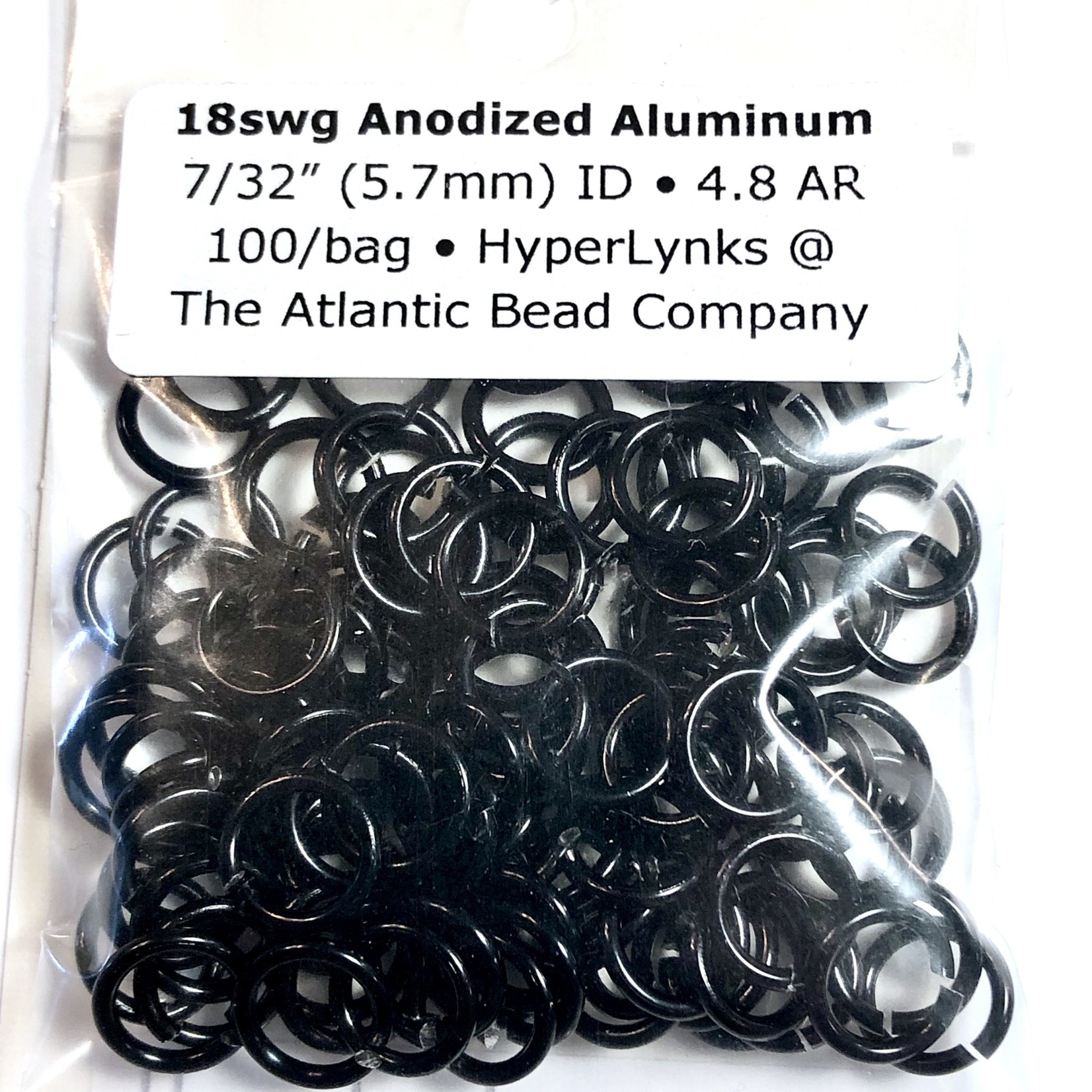 "Hyperlinks Anodized Aluminum Rings 18ga 7/32"" Black 100pcs"