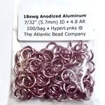 """Anodized Aluminum Rings 18ga 7/32"""" Pink 100pcs"""