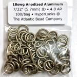 "Hyperlinks Anodized Aluminum Rings 18ga 7/32"" Khaki 100pcs"