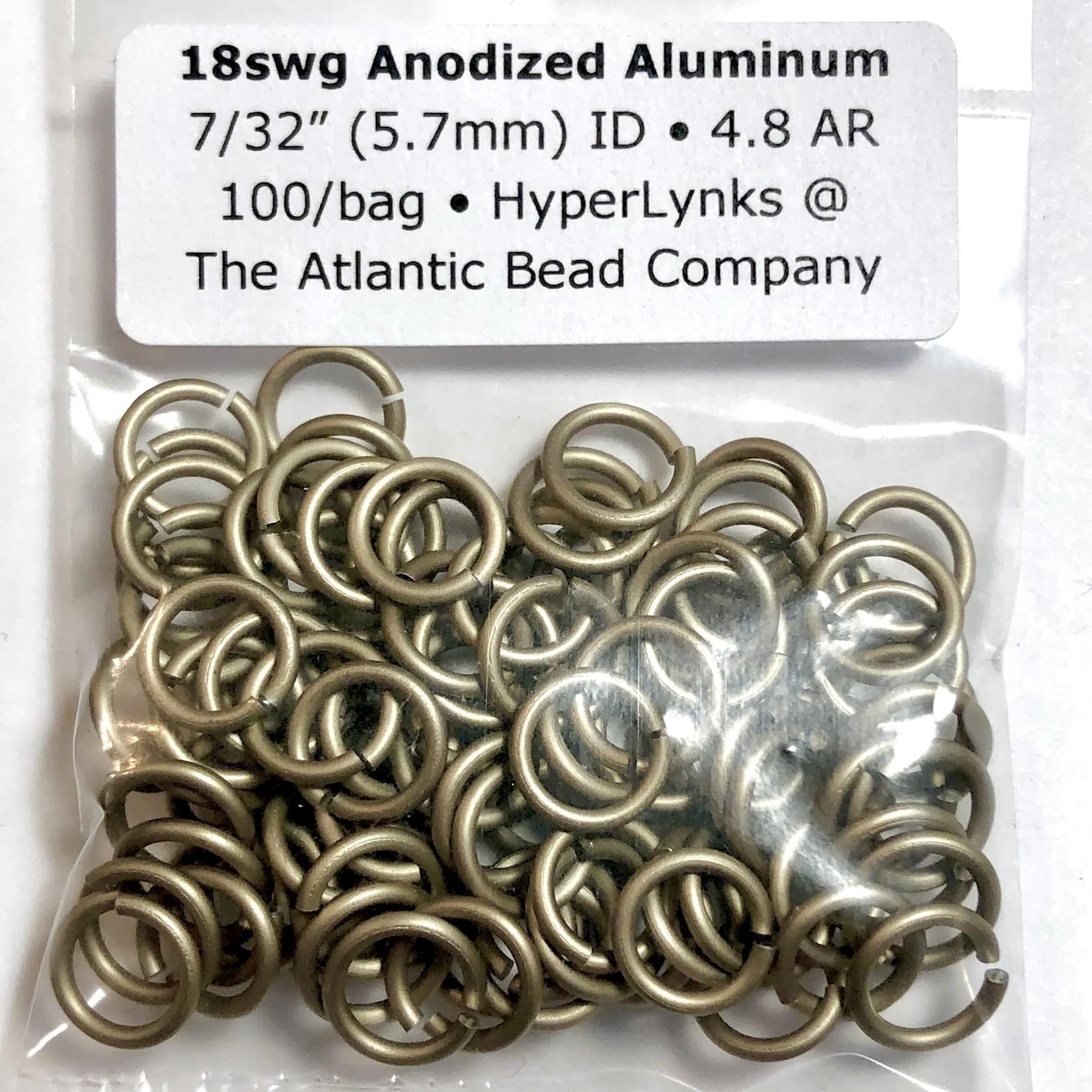 """Anodized Aluminum Rings 18ga 7/32"""" Khaki 100pcs"""