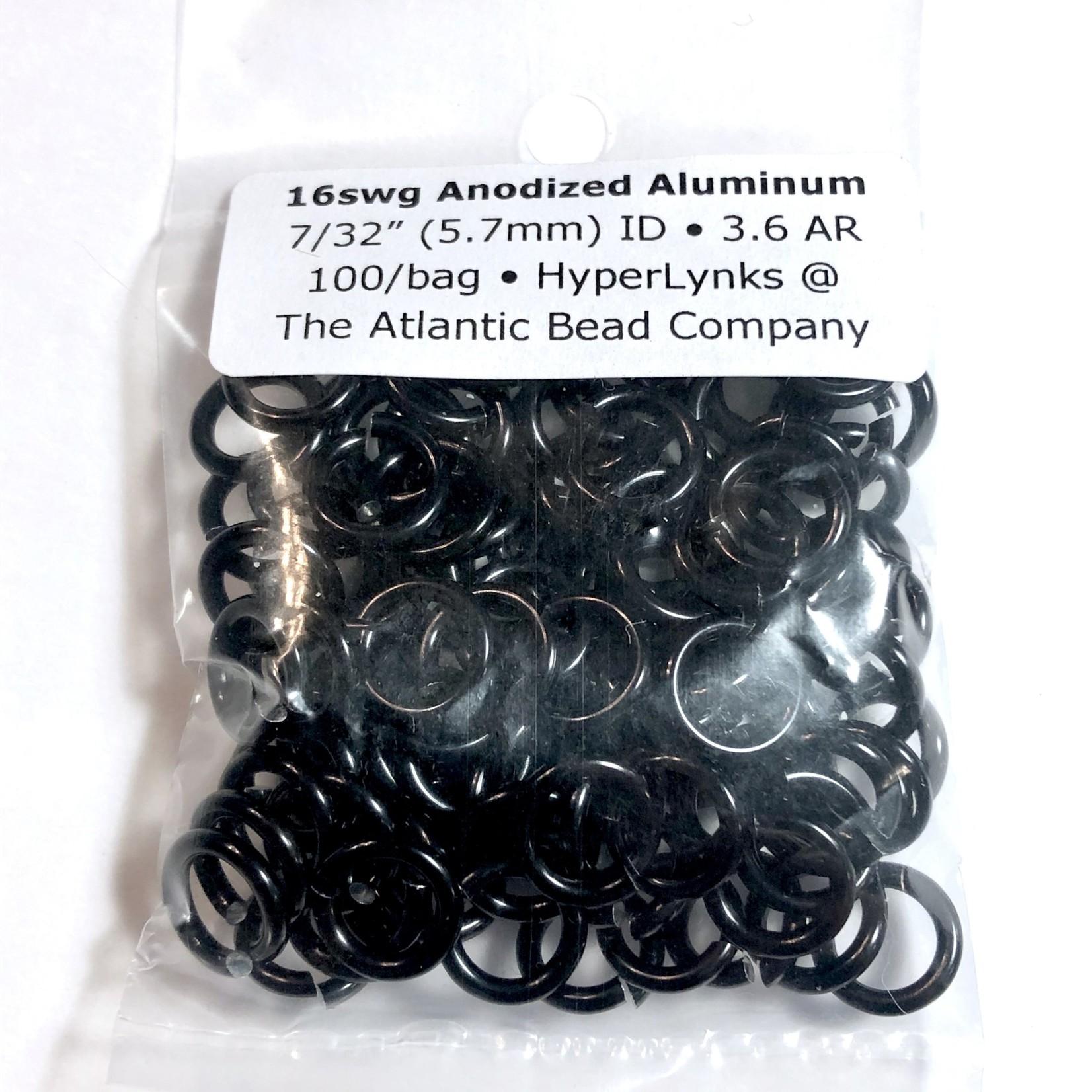 """Anodized Aluminum Rings 16ga 7/32"""" Black 100pcs"""