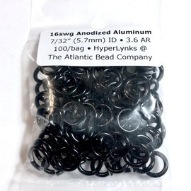 "Anodized Aluminum Rings 16ga 7/32"" Black 100pcs"