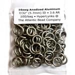 """Anodized Aluminum Rings 16ga 7/32"""" Khaki 100pcs"""