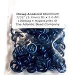 """Anodized Aluminum Rings 16ga 7/32"""" Royal Blue 100pcs"""