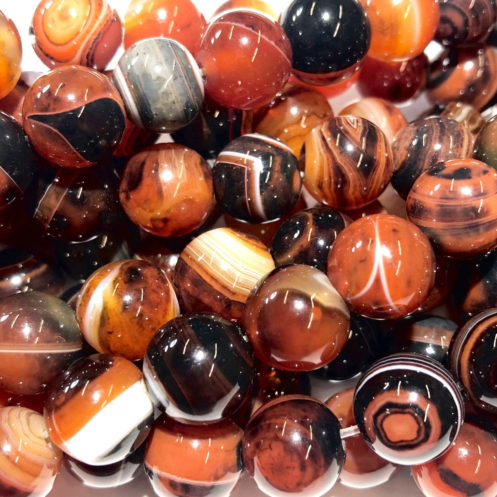 Banded Sardonyx AGATE Natural 10mm Round