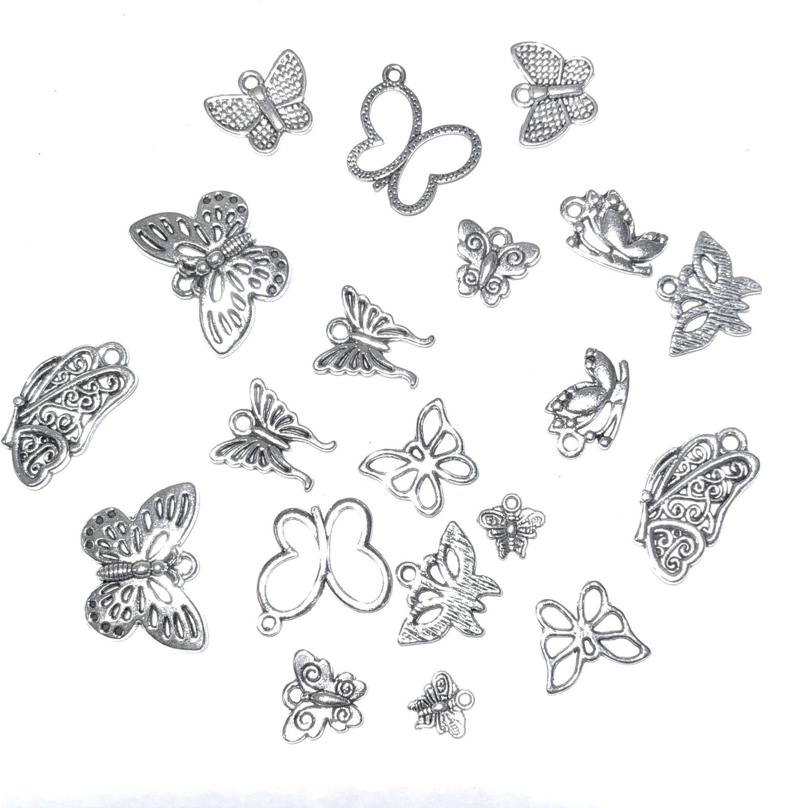 Cast Tibetan Silver Alloy Butterfly Charm 10 pairs