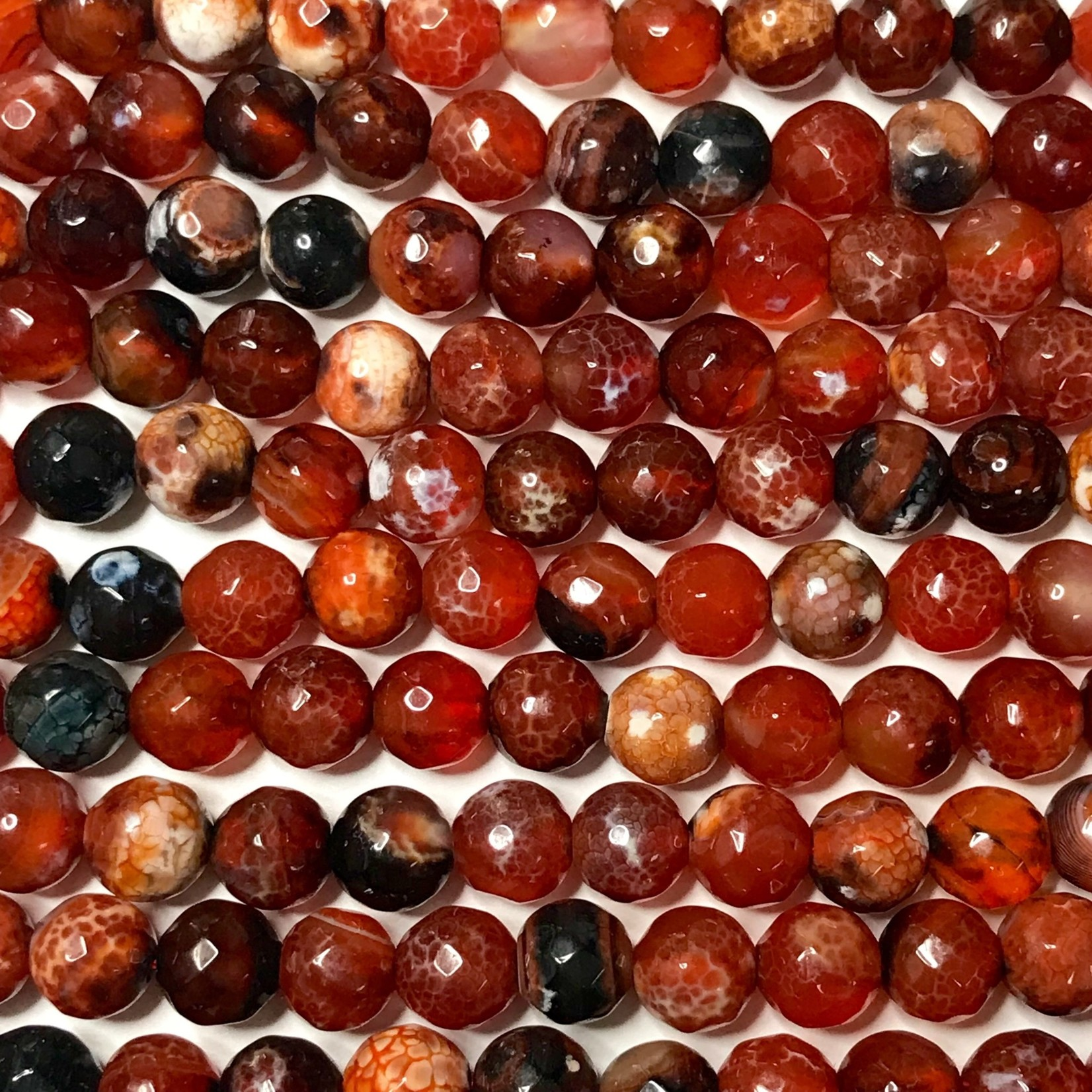 AGATE Fire Red/Black 8mm Faceted