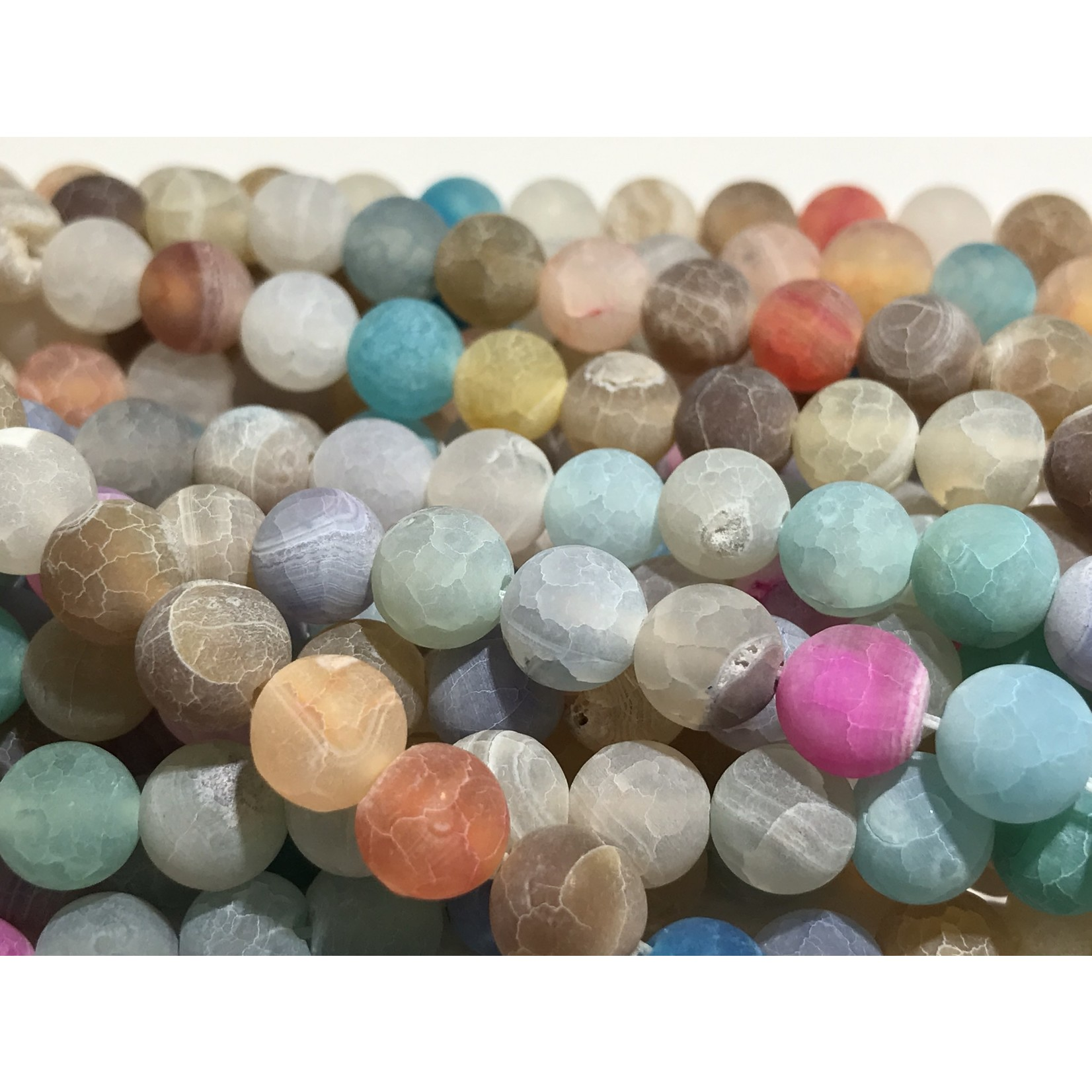 AGATE Frosted Multi Coloured - 8mm Round