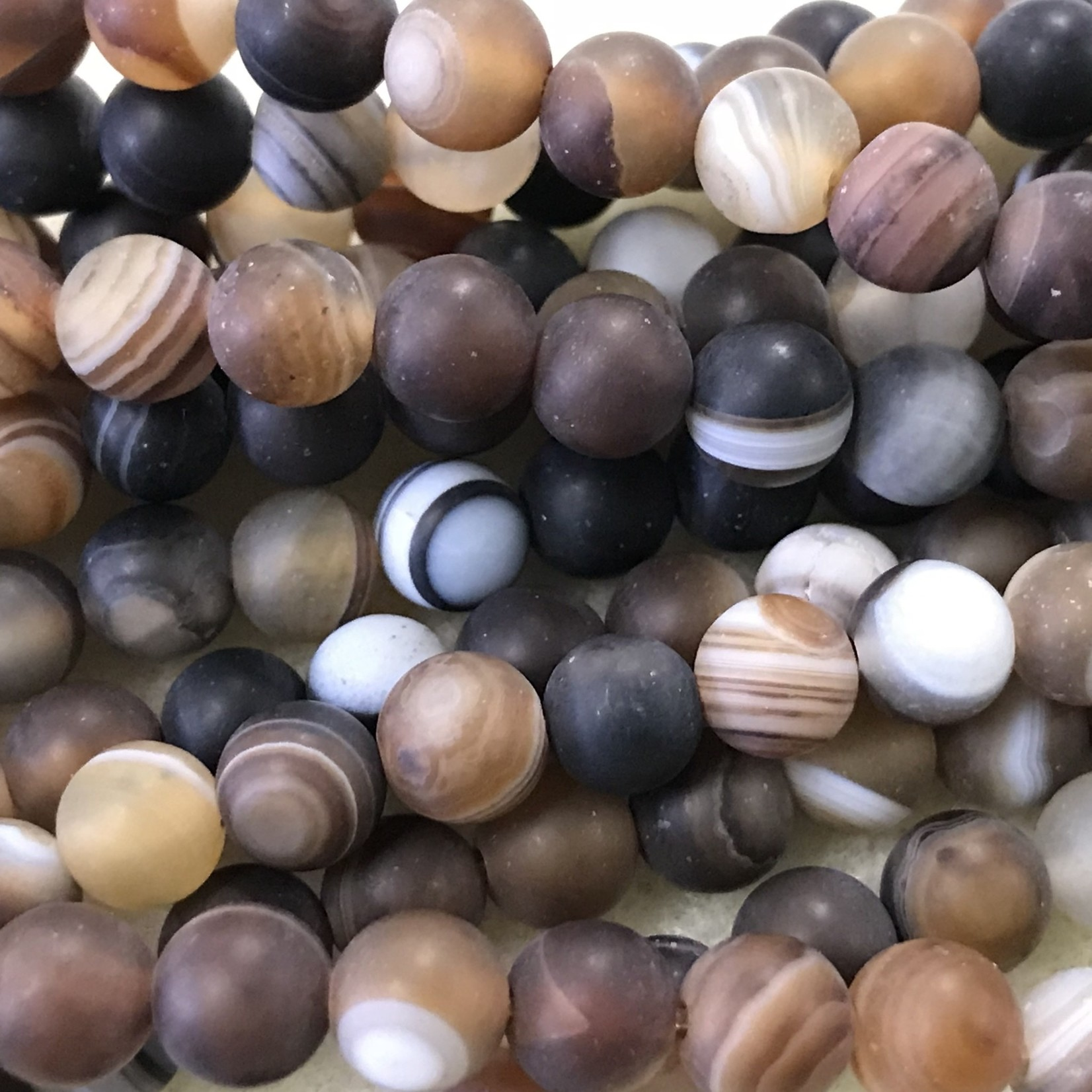 Banded AGATE Frosted Dyed Brown 6mm Round