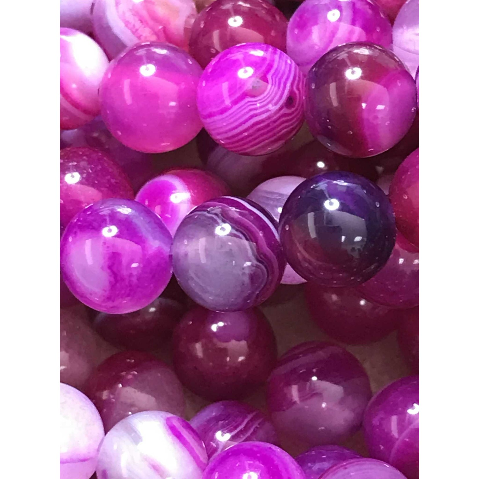 Banded Agate Dyed Fuchsia 6mm Round