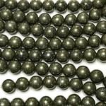 PYRITE 8mm Round Beads Natural