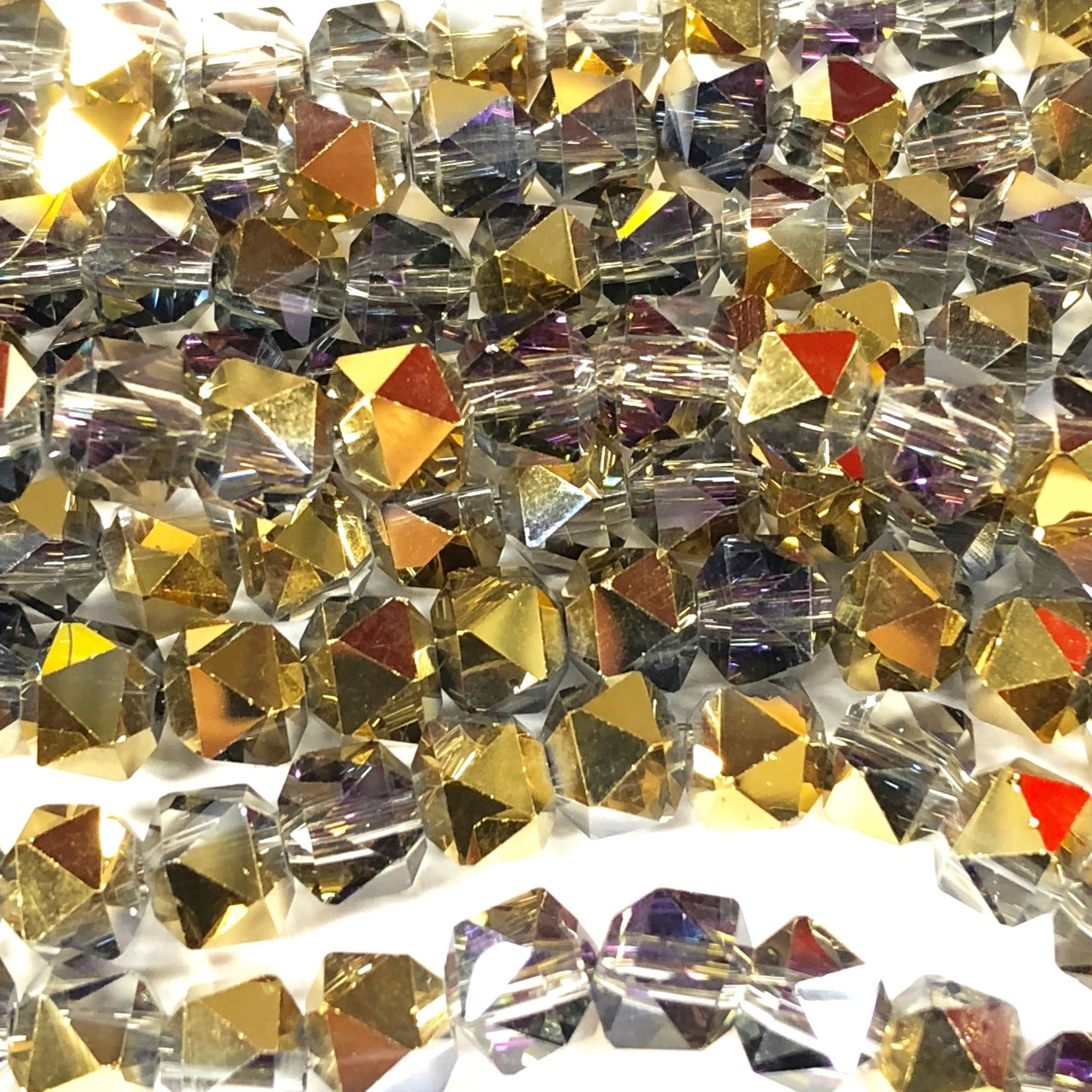 Electroplated GLASS AB Gold 7mm Faceted Lantern