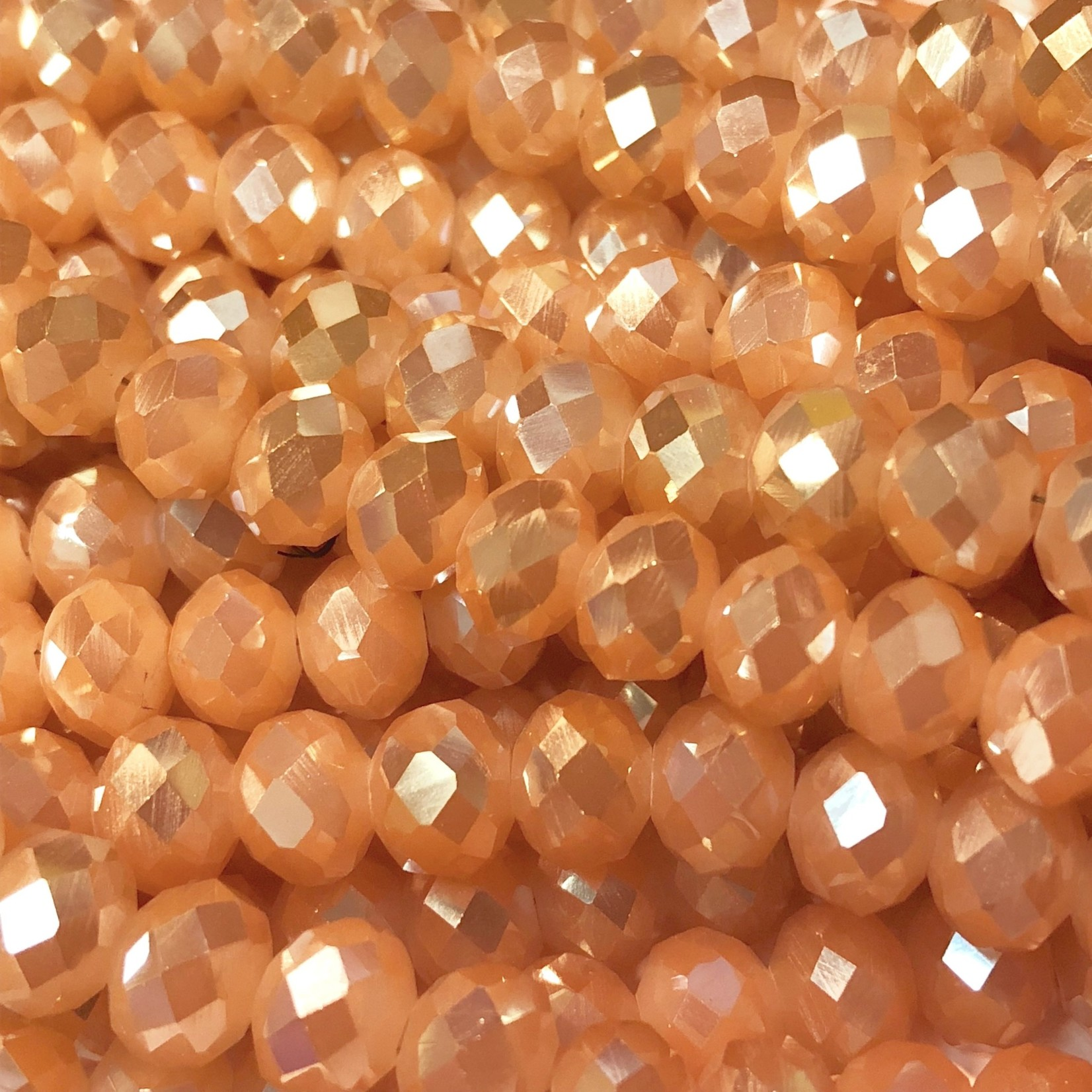 Electroplated Glass Peach 9x8mm Faceted