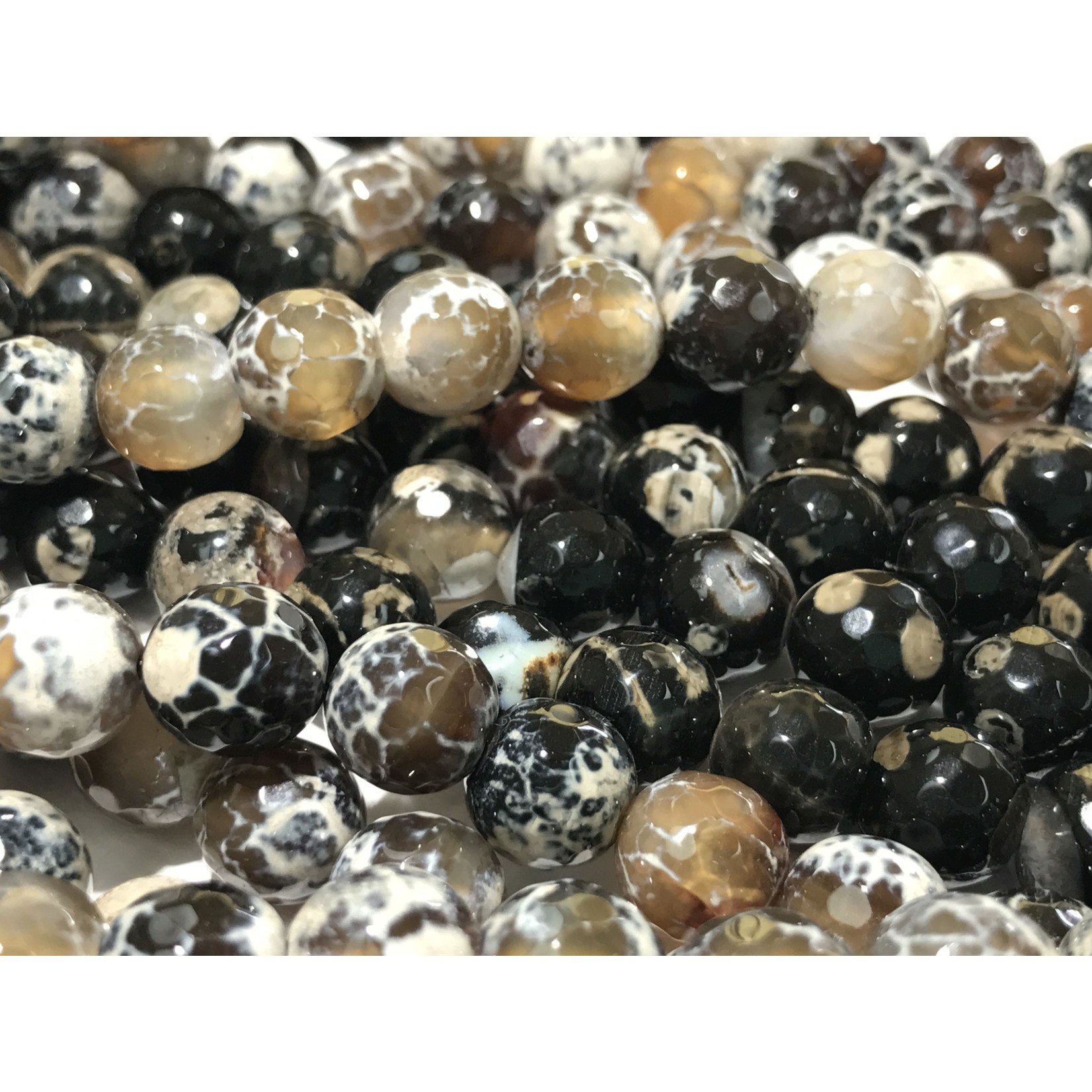 AGATE Faceted Beads Black/Cream 10mm