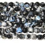 AGATE Faceted Beads Black/Blue 10mm