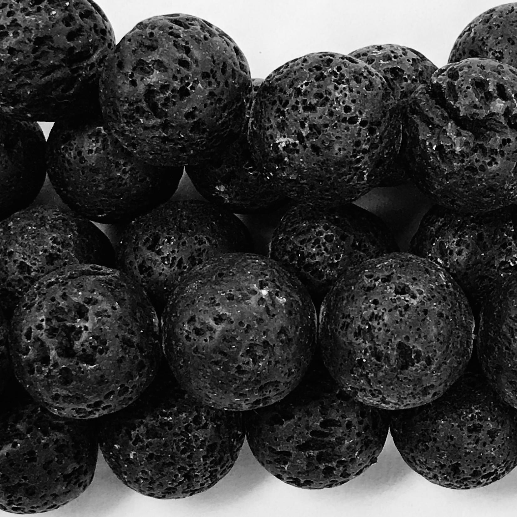 BLACK LAVA Stone Natural Round 20mm 1/2 Strand
