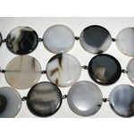 AGATE Black and White Flat Coin 43mm 1/2 Strand
