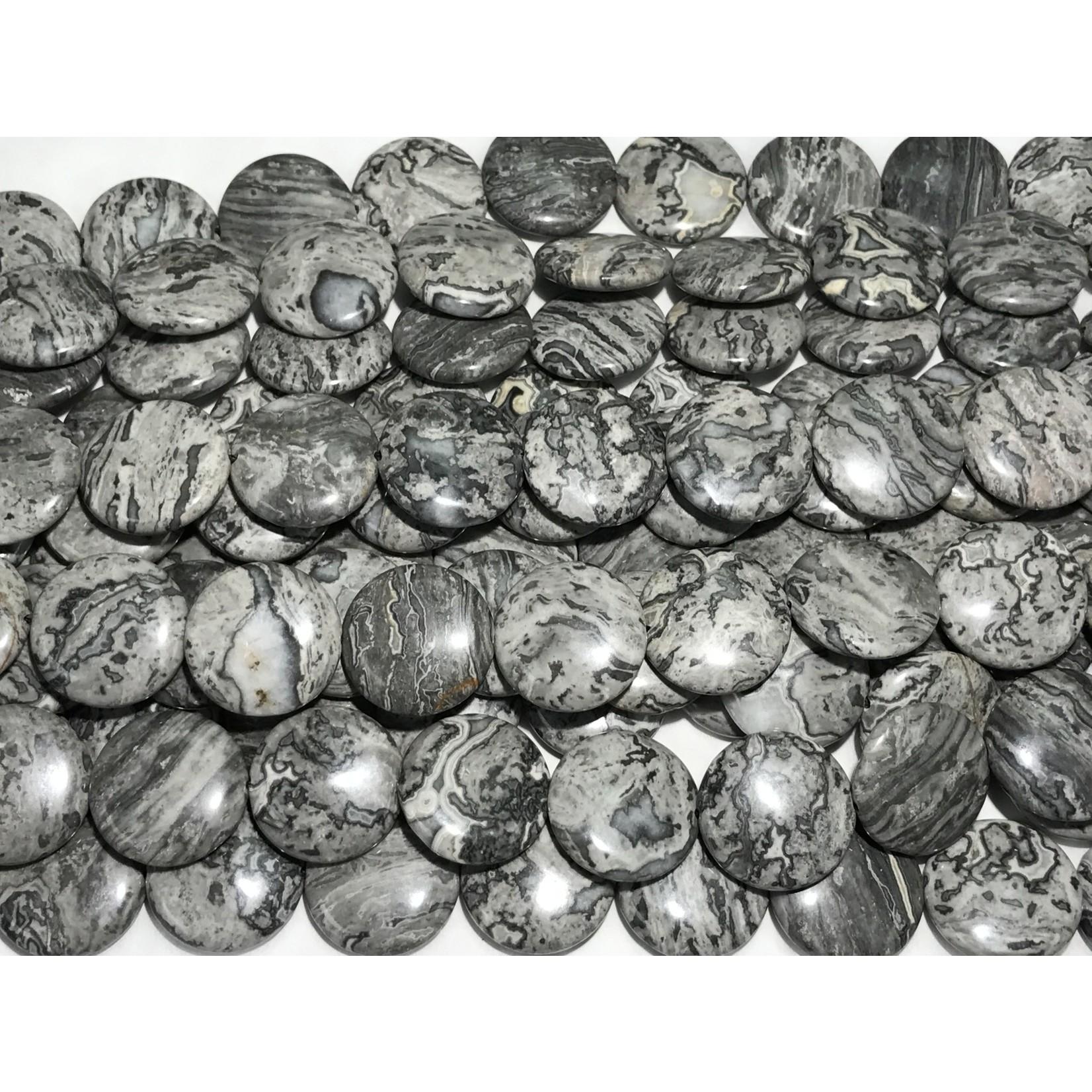 Grey Scenery JASPER Coins 25mm 1/2 Strand
