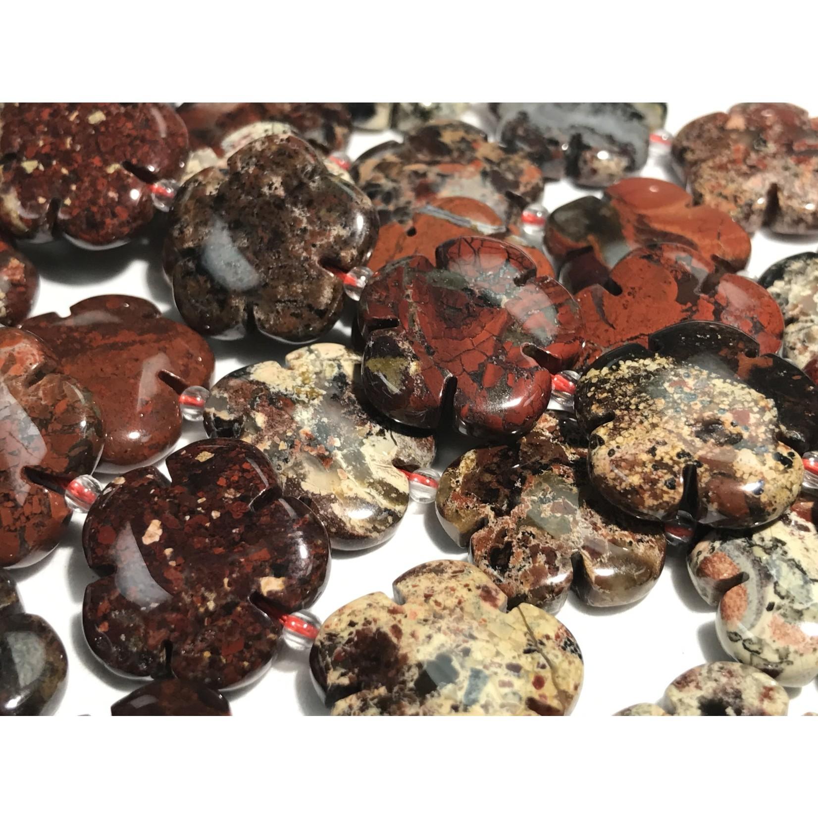 Brecciated Jasper Flower Beads 20 X 5mm 1/2 Strand