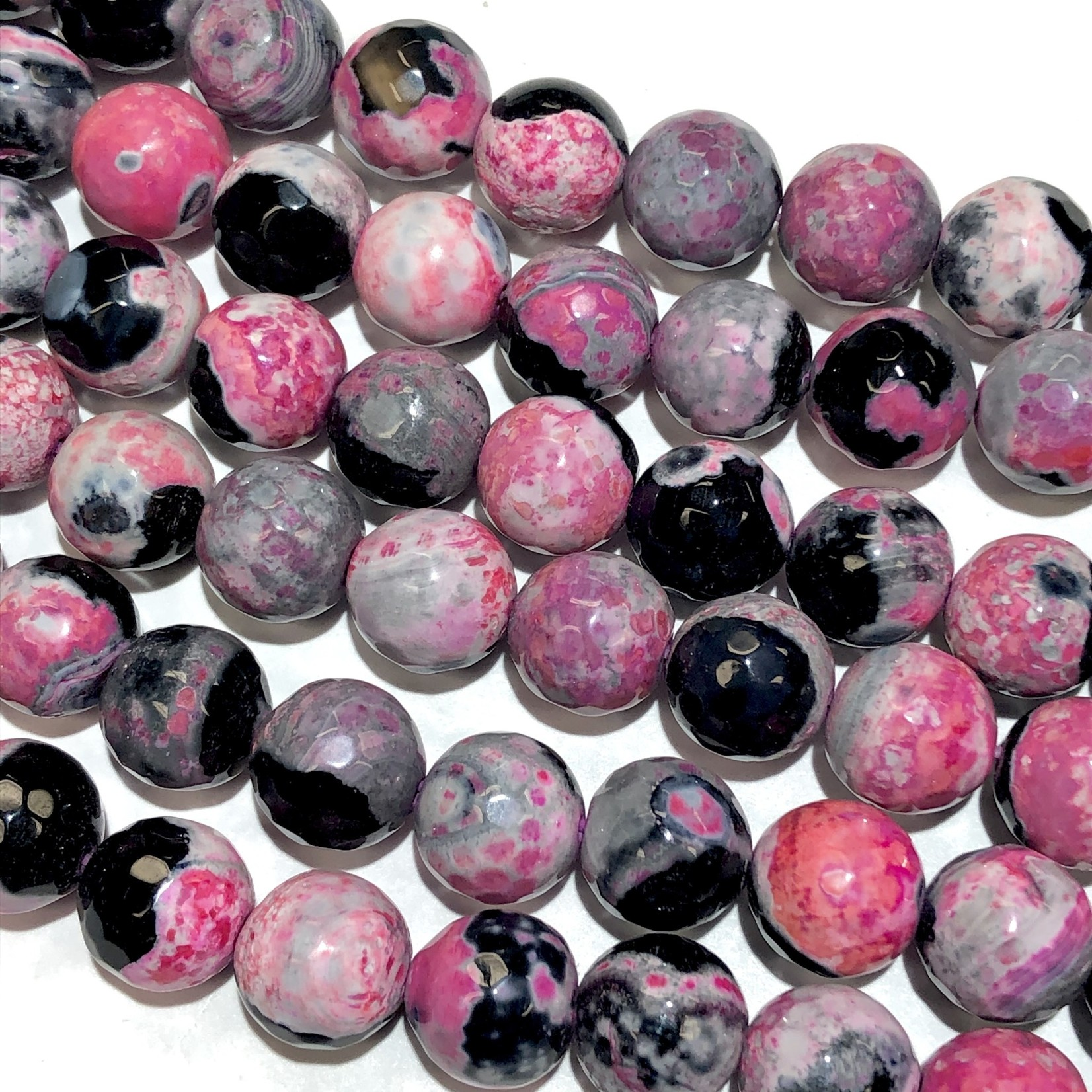 AGATE Faceted Beads Black/Pink 10mm